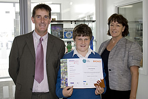 Principal, Michael O Leary, Eanna Reynolds,and Young Scientist Teacher, Theresa Gannon