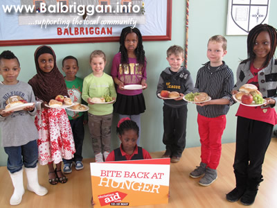 St George's National School children support Christian Aid's 'Bite Back at Hunger' campaign