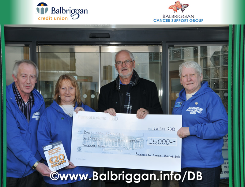 Pat Doyle Director of Balbriggan Credit Union presenting the cheque to Tom Quinlan, Sandra Cannon and Cora Neilis from Balbriggan Cancer Support Group