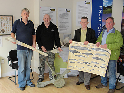 Balbriggan Maritime Museum volunteers, John Daly (Fisherman / Committee Member), Johnny Woodlock (Treasurer / Marine Conservationist), Trevor Sargent (Chairperson) and Frank Duffy (Secretary)