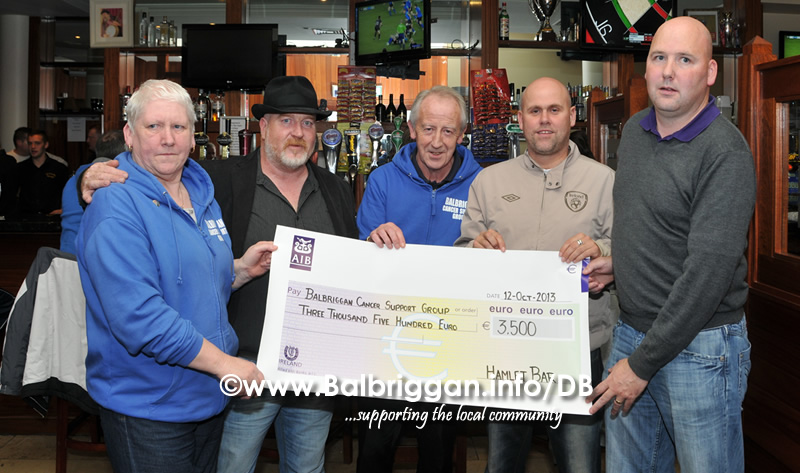 hamlet_bar_present_cheque_to_balbriggan_cancer_support_group_12oct13