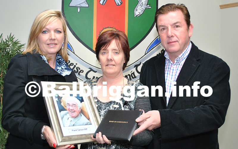 Edna and Tony Carson with Cathaoirleach of Balbriggan Town Council, Cllr Grainne Maguire