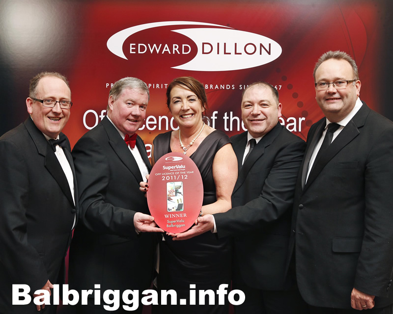 Left to right. Martin Kelleher - SuperValu M.D, Luke Moriarty . - Store Owner, Mary Quinlan. - Off License Manager, Brian Carrick - Area Manager Moriarty Group, Andy O Hara - Edward Dillon's M.D