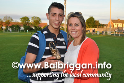 Tahar Ouchelouche who won the man of the match getting presented his trophy by Martha McCabe