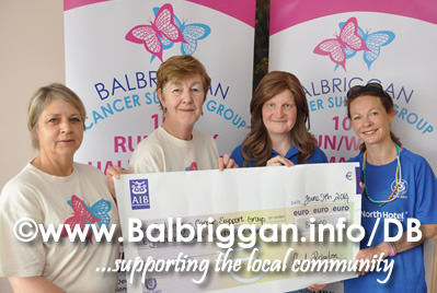 Eithne Vettraino & Ann Bissett from Balbriggan Cancer Support with Aileen Keogh & Karen Lavelle from Star of the Sea Ahtletic Club in Stamullen.