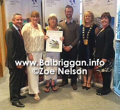 Peter Reid CEO FIngal CoCo, Zoe Nelson and Teresa Fitzpatrick of Balbriggan Residents Association, Cllr Roderic O'Gorman, Mayor of Fingal Mags Murray and local Balbriggan Cllr Grainne Maguire