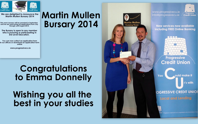 emma_donnelly_progressive_credit_union_martin_mullen_bursary winner_2014