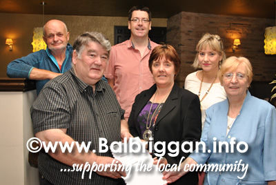 Play Write Paddy Doyle presenting the play to members of Balbriggan Dramatic Society, Grainne Maguire, Sarah Leech, Mick Cassin, Greg Casey and Yvonne Healy